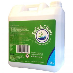 Safe and Clean Hand Sanitiser 15 litre bottle